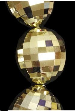 48in 100mm Metallic Gold Disco Ball Shape Necklace