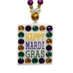 Happy Mardi Gras Rhinestone Necklace