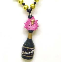 42in New Years Champagne Glass w/ Champagne Bottle Medallion Necklace