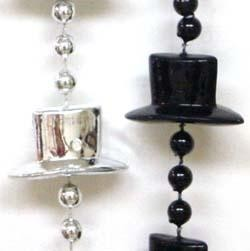 36in Top Hat Black Clear Coat/ Metallic Silver Mix Beads