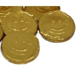 Gold Smiley Face Bubble Gum Coins