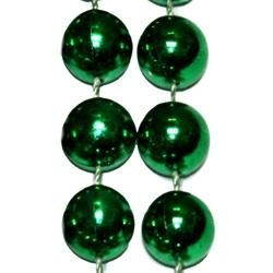 72in 18mm Round Metallic Green Beads