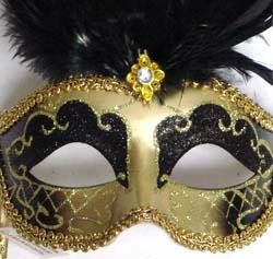 Gold and Black Venetian Masquerade Mask On A Stick with Large Ostrich Black Feathers