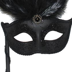 Black Venetian Masquerade Mask on a Stick with Black Ostrich And Coque Feathers