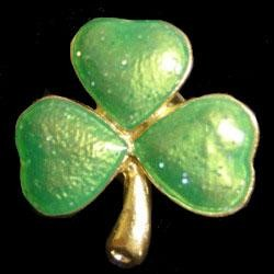 1in Wide x 1in Tall Metal Glitter Shamrock Pin
