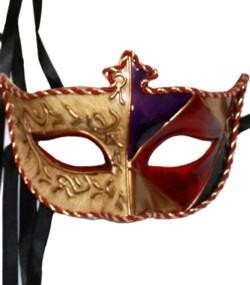 Assorted Color Paper Mache Masquerade Mask With Antique Gold Background And Rich Colors