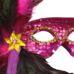 Hot Pink Sequin Feather Masquerade Mask On a Stick with Feathers on the Side