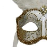Venetian Masks: White and Gold Mask with Large White Ostrich Feathers