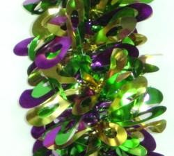 6ft x 4 1/2in Purple Green Gold Pine Needle Tinsel Garland