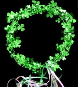 Foil Shamrock/Clover St Patrick Halo/ Head Piece w/ White Iridescent and Green Streamers