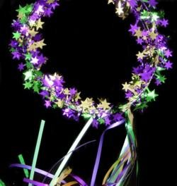Foil Star Mardi Gras Halo/ Head Piece w/ Purple Green Gold Streamers