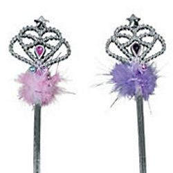 15 1/4in Tall x 3in Wide Plastic Princess Wands W/Feathers