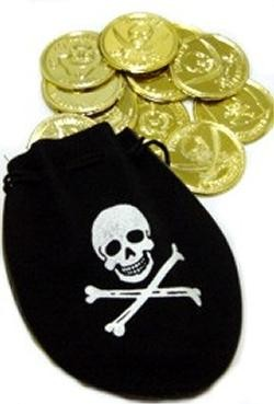 4in x 5in Pirate Drawstring Bag w/ Gold Coins