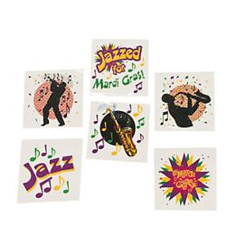 1.5in Mardi Gras Glitter Tattoos Assorted Styles