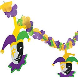 12ft Simulated Silk Flower Mardi Gras Garland w/ Jester Cutouts