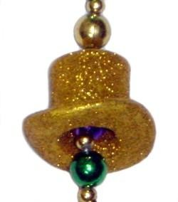 Glittered Top Hat Mardi Gras Necklace