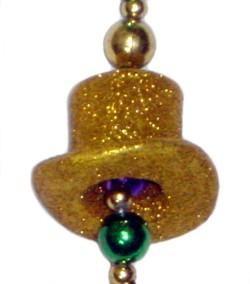 Glittered Top Hat Mardi Gras Necklace