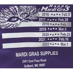 21in Height x 15 1/2in Length x 10 1/4in Width X-Large Bag With Zipper w/ Mardi Gras Supplies Artwor