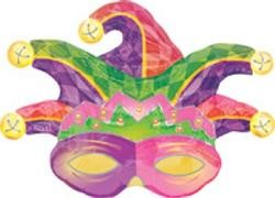 25in Tall Mardi Gras Mylar Mask Super Shape Balloon