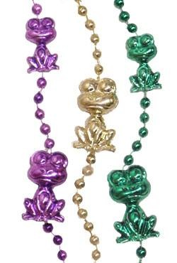 36in Metallic Purple/ Green/ Gold Sitting Frog Beads
