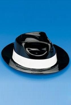 22in circ. Plastic Black Gangster/Fedora Hat w/ White Band