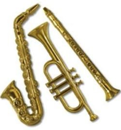 17in - 21in Gold Plastic Assorted Musical Instruments
