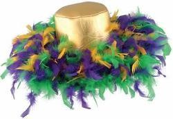 4in Tall Mardi Gras Feather Hat W/4 1/2in Brim