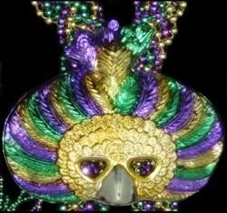 60in 7.5mm Braided Purple Green Gold Beads w/ Plastic Mardi Gras Feather Mask