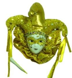 33in 7.5mm Met Gold with Gold Jester Hat Doll Face