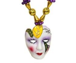 42in Purple Green Gold Beads w/Hand Painted 2in And 1.5in Porcelain Faces/mask