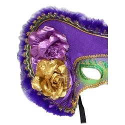 Deluxe Plastic Masks: Ladies Mardi Gras Pirate with Tricorn Hat