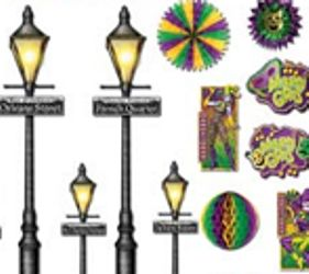 8in - 46in Mardi Gras Decor And Street Light Props - 21 Pieces Back Drop Wall Decoration/ Float Decorations