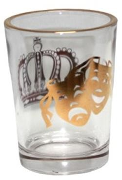 Mardi Gras Jumbo Shot Glass 2 1/2in at the Top x 3 1/4 Tall