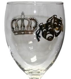 7 1/4in Tall 3in Wide Mardi Gras Wine Goblet