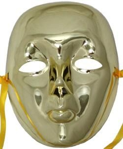 Deluxe Plastic Masks: Full Face Gold Drama Masquerade Mask