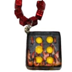 Black Flaming Dice Necklace