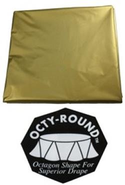 82in Gold Round Heavy Duty Plastic Tablecovers