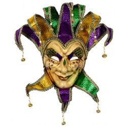 26in Tall x 13in Wide Mardi Gras Paper Mache Male Jester Face Mask With Glitter Accents And Bells