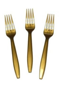 7in Gold Premium Heavyweight Plastic Forks