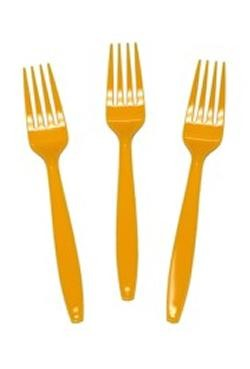 7in Yellow Premium Heavyweight Plastic Forks