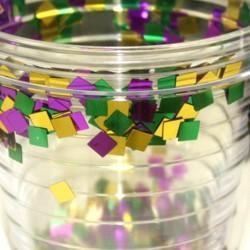 16 oz Plastic Double Lined Cup with Purple Green Gold Confetti Inside