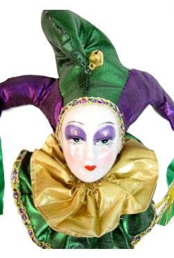 14in x 5.5in Pierrot/ Jester Doll On A Stick