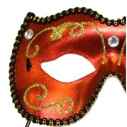 Eye Masquerade Masks: Red Venetian Mask with Stone Accents