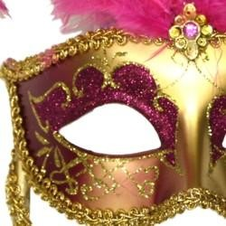 Gold Paper Mache Venetian Masquerade Mask on a Stick with Glitter Accents and with Hot Pink Large Ostrich Feathers