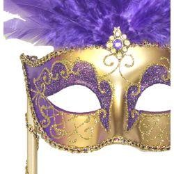 Gold Paper Mache Venetian Masquerade Mask on a Stick with Glitter Accents and with Purple Large Ostrich Feathers