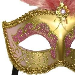 Light Pink and Gold Paper Mache Venetian Masquerade Mask with Glitter Accents and with Light Pink Large Ostrich Feathers