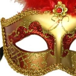 Red and Gold Paper Mache Venetian Masquerade Mask with Glitter Accents and with Red Large Ostrich Feathers