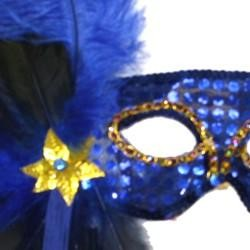 Blue Sequin Feather Masquerade Mask on a Stick with Feathers on the Side