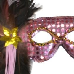 Light Pink Sequin Feather Masquerade Mask on a Stick with Feathers on the Side