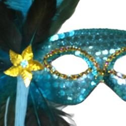 Turquoise Sequin Feather Masquerade Mask on a Stick with Feathers on the Side